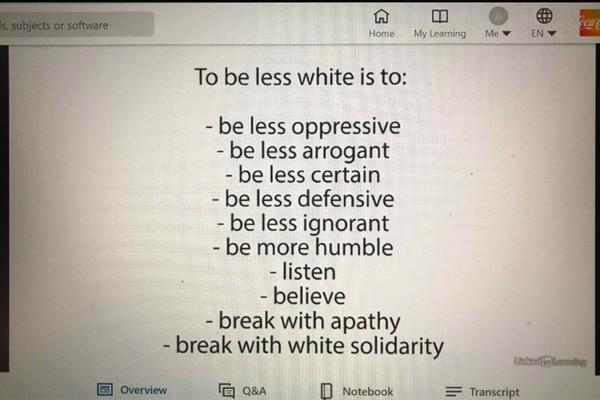 «Быть менее белым значит быть менее угнетающим, менее невежественным, менее уверенным, менее высокомерным, более скромным, слушать, верить, покончить с равнодушием, покончить с солидарностью белых»